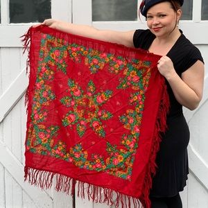Vintage Red Russian Scarf w/ Flowers & Horseshoes